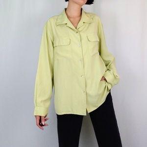 Vintage Tops - Vintage sage green silk button down